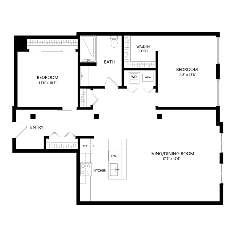 Two Bedroom Two Bath Pet Friendly Apartment – Floor Plan N2