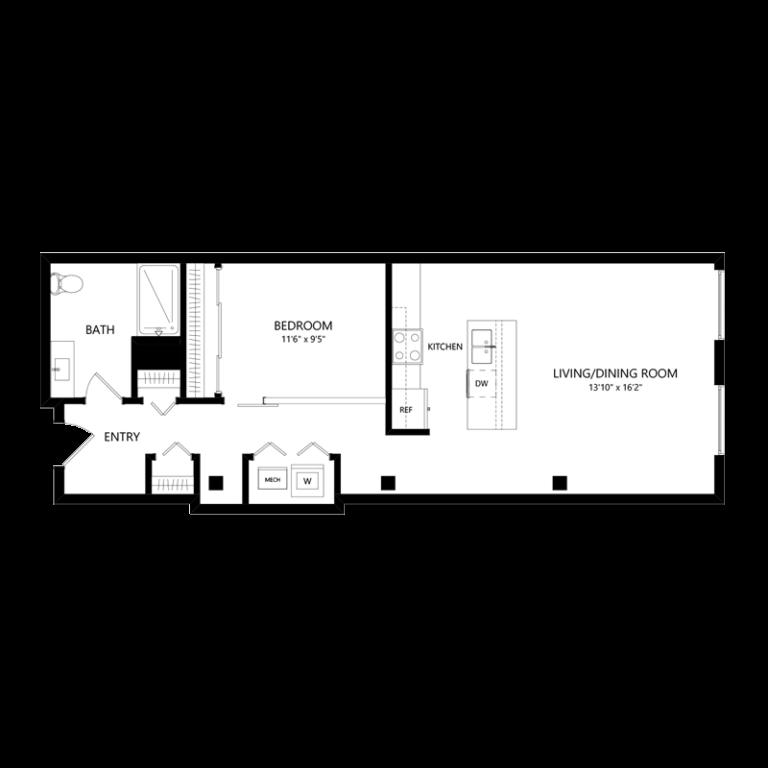 One Bedroom in Walker's Point - Floor Plan D