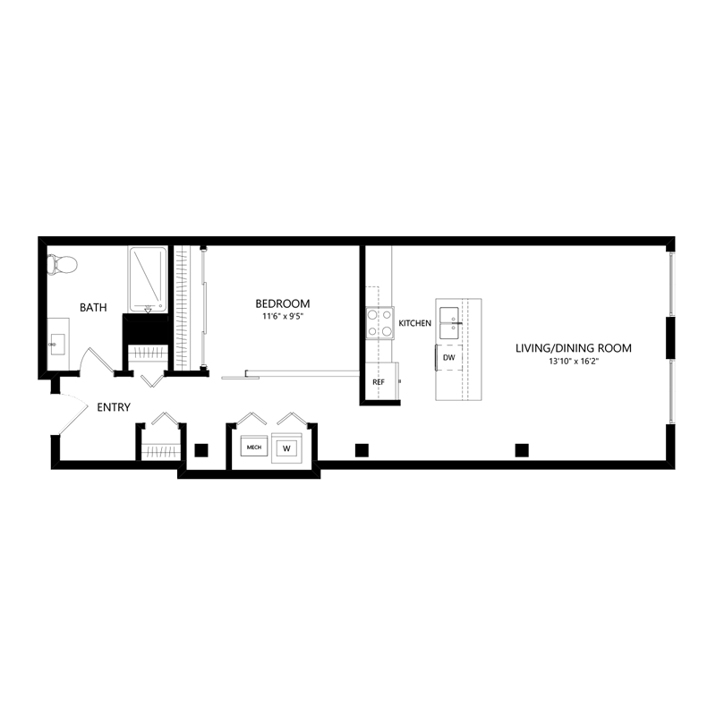 One Bedroom in Walker's Point – Floor Plan D