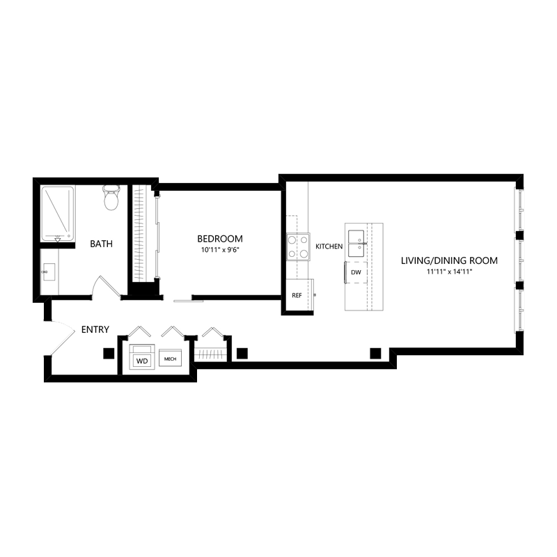 One Bedroom Apartment in Walker's Point – Floor Plan G