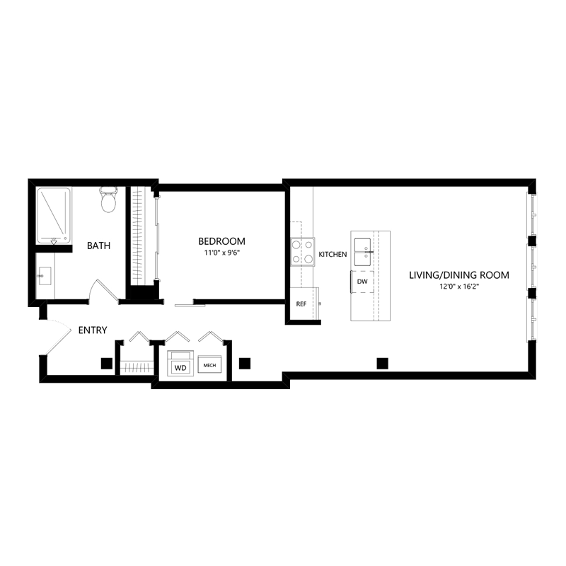One Bedroom Pet Friendly Apartment – Floor Plan H