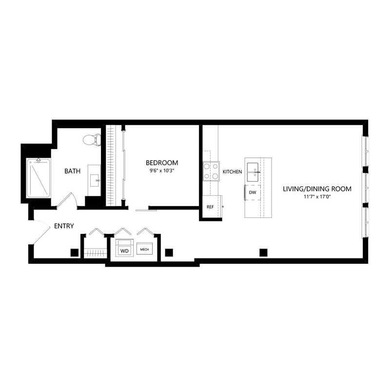 One Bedroom Apartment in Walker's Point – Floor Plan I