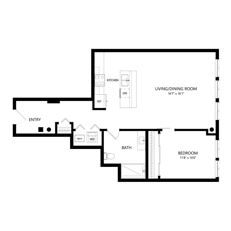 One Bedroom Apartment in Walker's Point – Floor Plan A