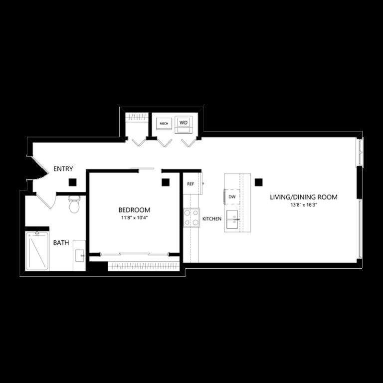 One Bedroom Pet Friendly Apartment - Floor Plan B