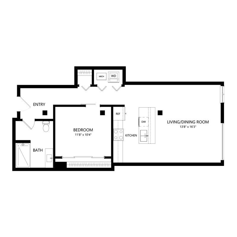 One Bedroom Pet Friendly Apartment – Floor Plan B