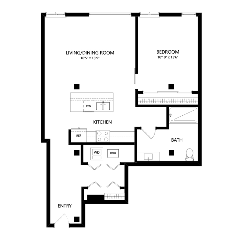 One Bedroom Apartment in Walker's Point – Floor Plan C
