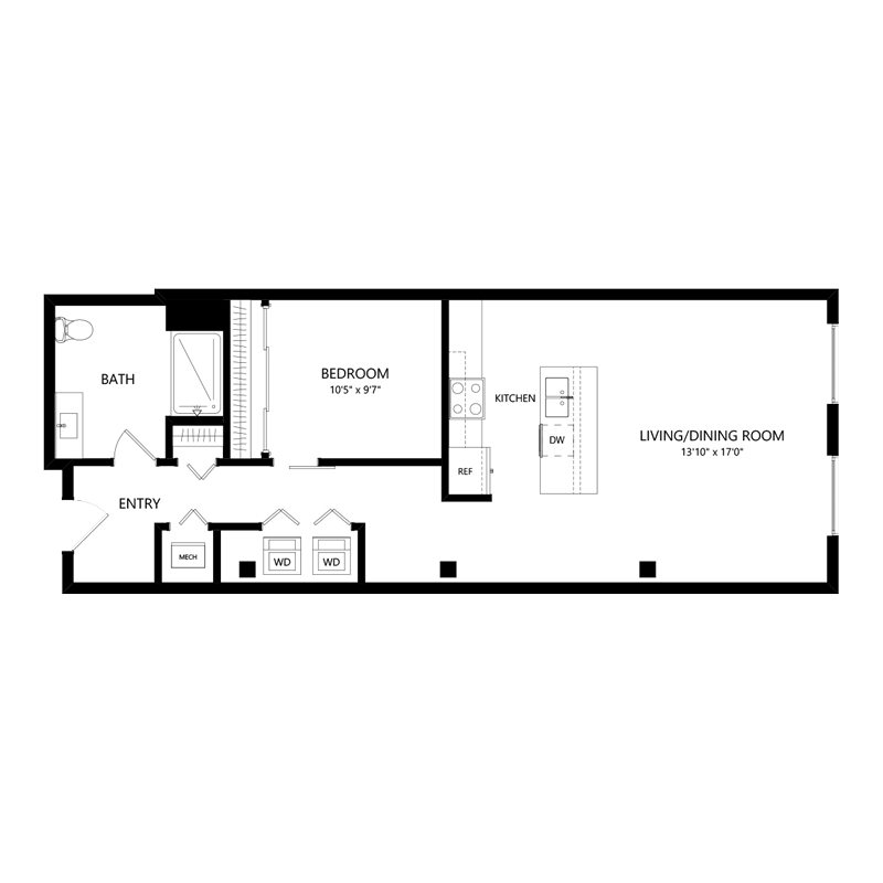 One Bedroom Apartment in Walker's Point – Floor Plan E2
