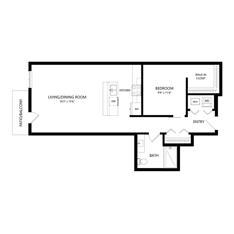 One Bedroom Pet Friendly Apartment – Floor Plan J