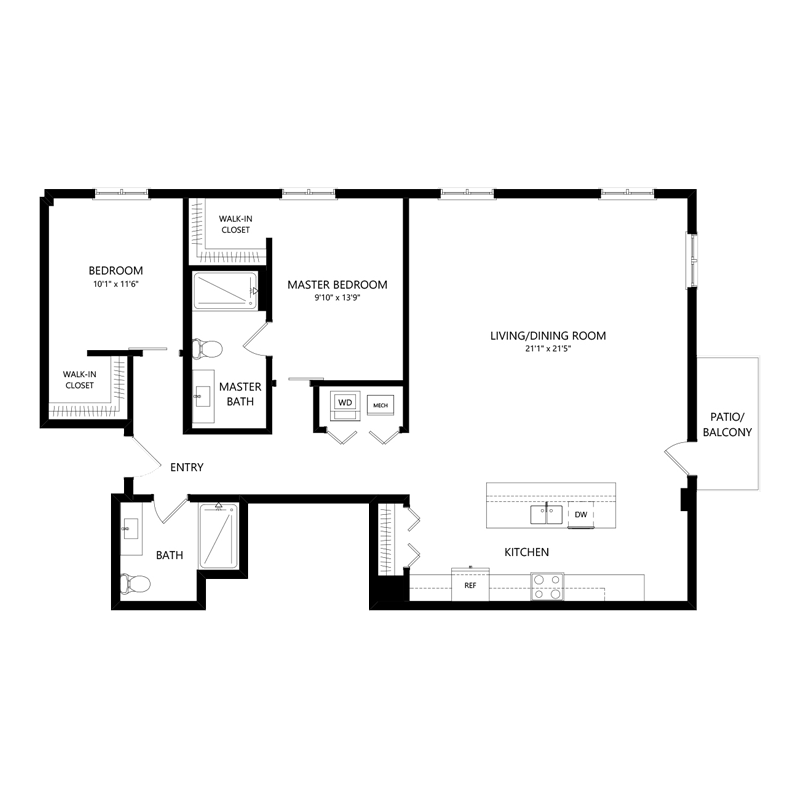 Two Bedroom Two Bath Large Apartment in Walker's Point – Floor Plan L