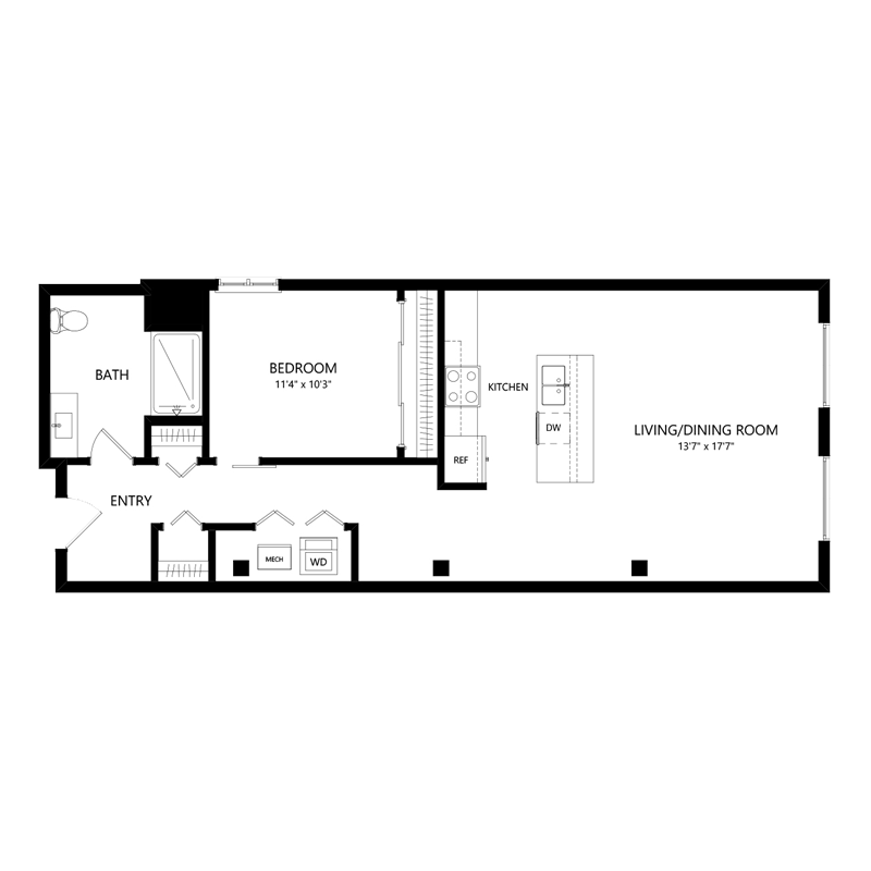 One Bedroom Apartment in Walker's Point – Floor Plan E4